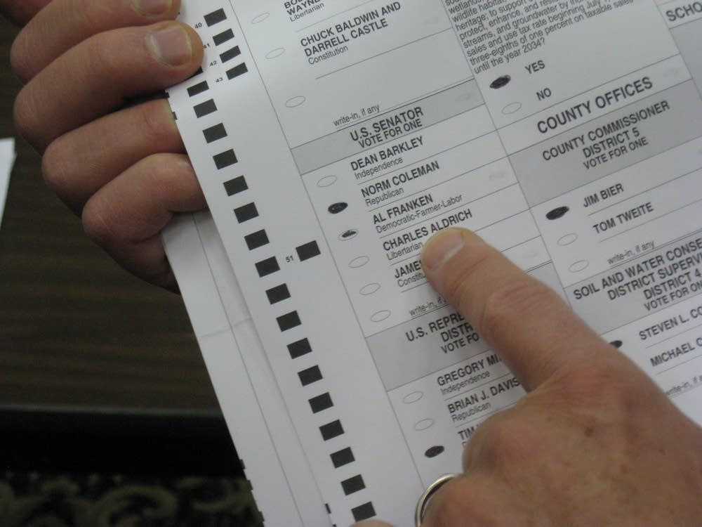 A challenged ballot in the U.S, Senate recount