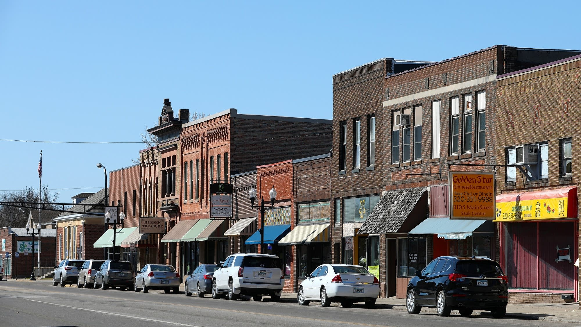 Small independent shops line Main Street South in Sauk Centre.