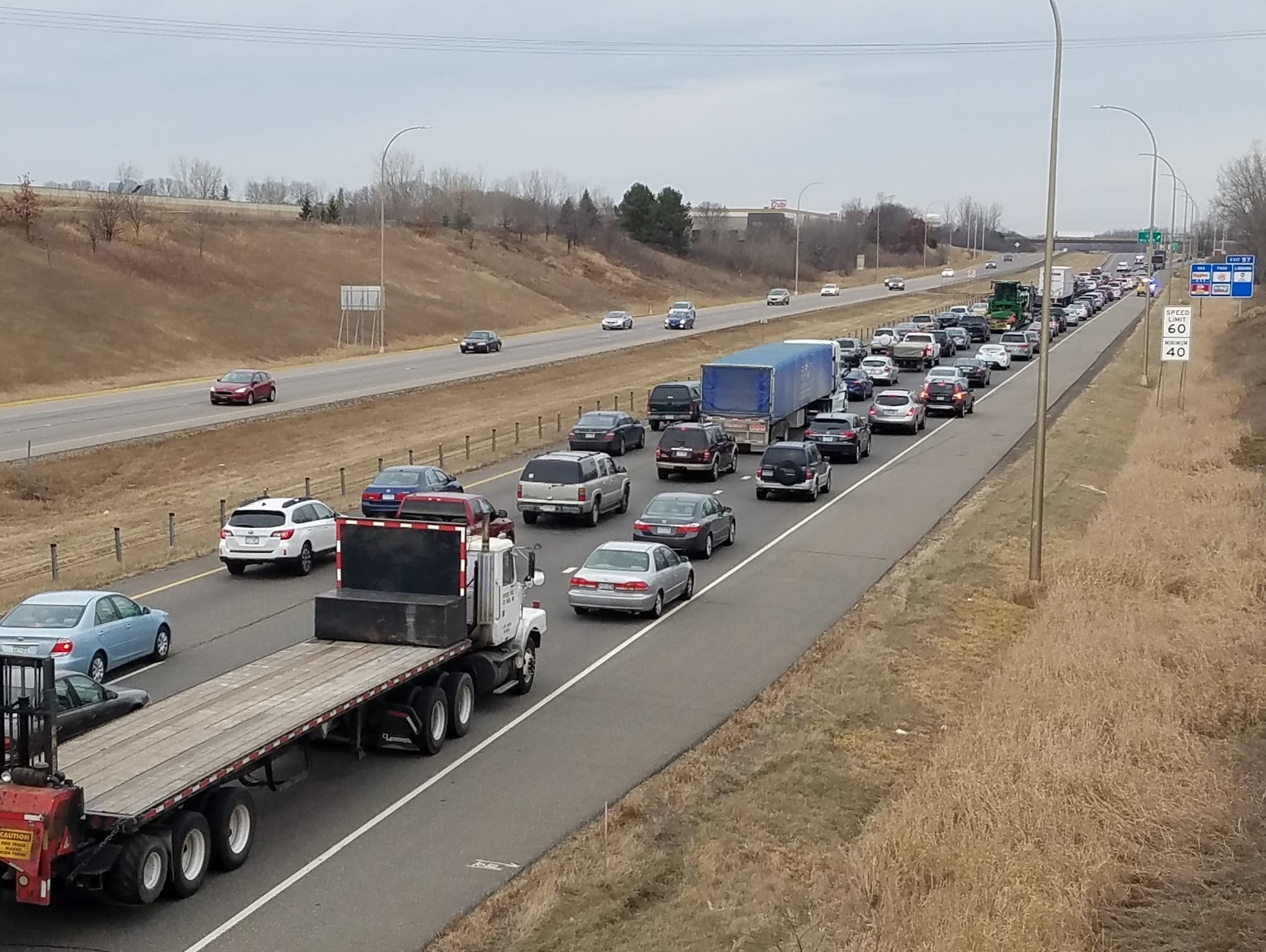 Traffic backs up along Interstate 694 near Oakdale