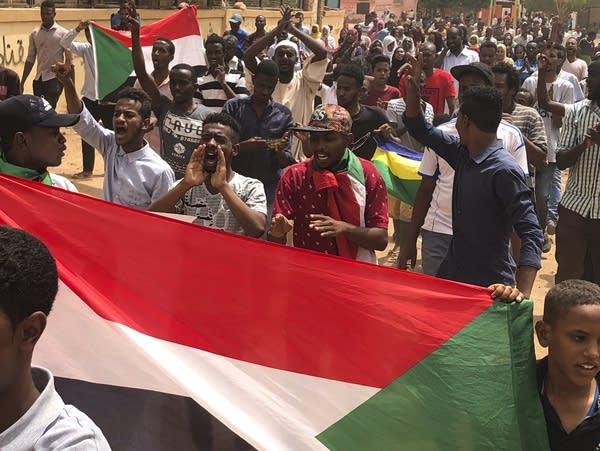 Sudanese protesters in Khartoum