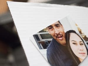 Photos of Josh Thompson with family members are displayed on boards.
