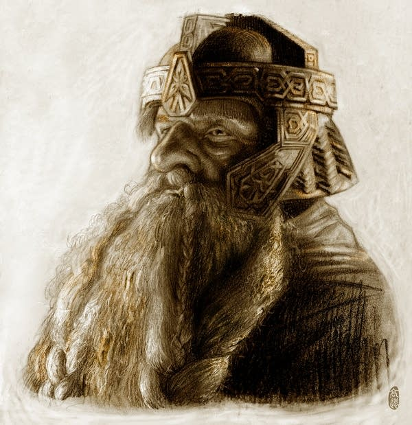 A hand-drawn, black-and-white portrait of Gimli, a tough-looking warrior