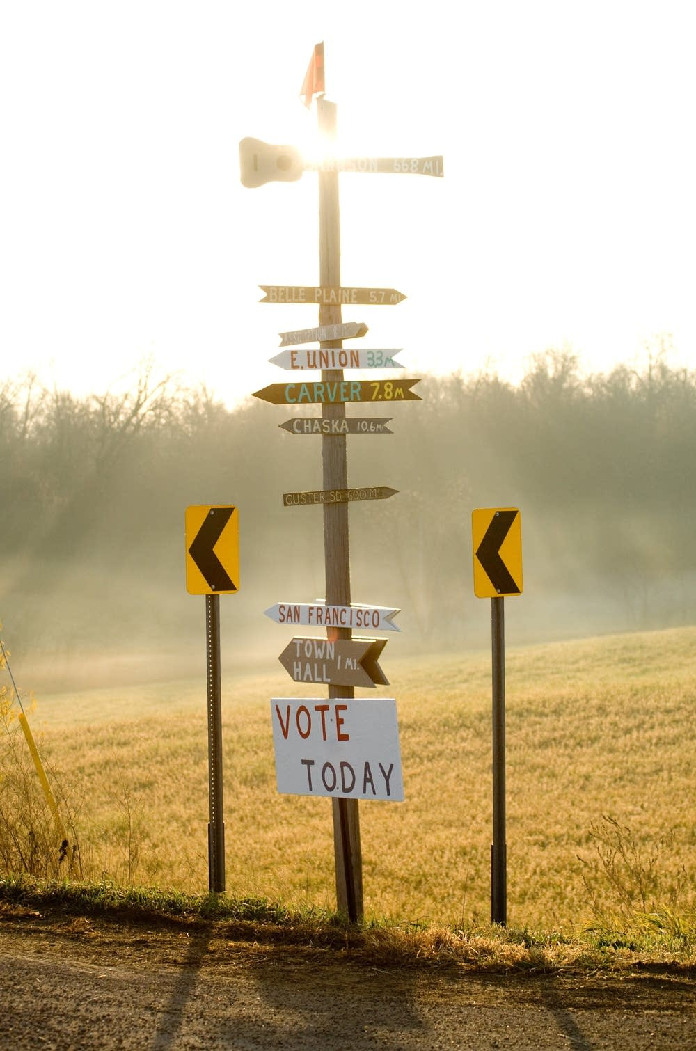 Rural polling place sign