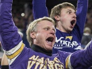 Vikings fans react after Stefon Diggs scored a 61-yard touchdown.