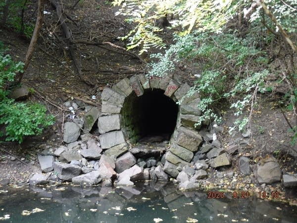 The entrance to an old storm sewer