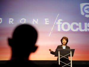 Sec. of Transportation Elaine Chao speaks at the Drone Focus Conference.