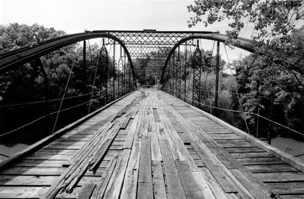 Historic Kern Bridge stands unused near Mankato
