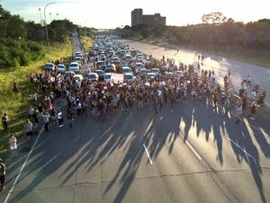 Marchers block Interstate 94.