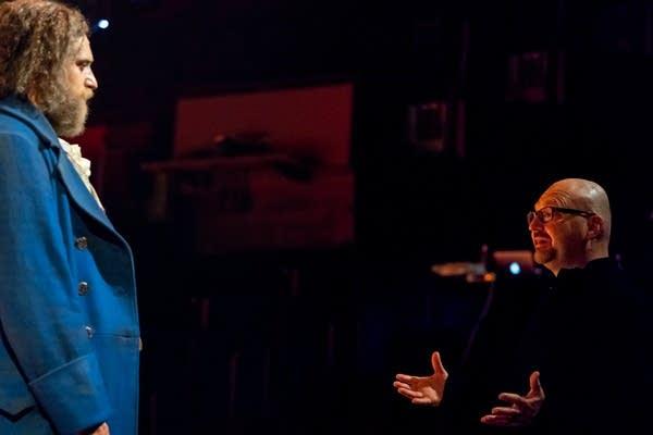 Robert Melrose, right, speaks with Zachary Fine, playing Frankenstein.