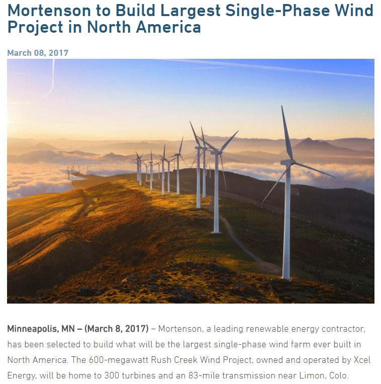 Mortenson wind project