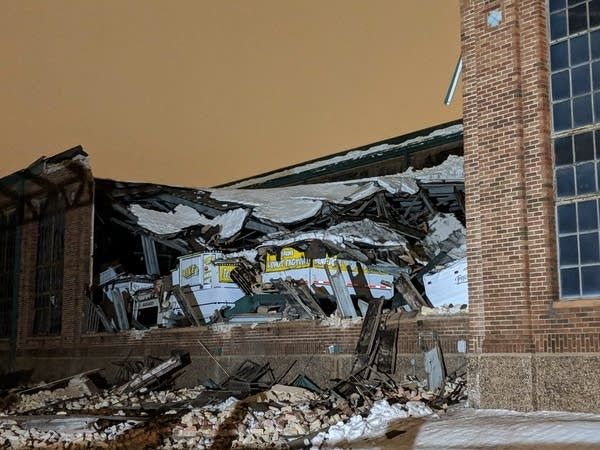 Part of the State Fair's cattle barn roof collapsed.