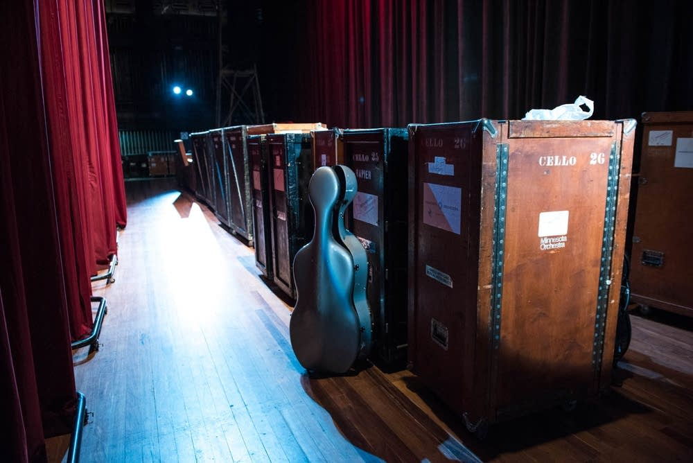 Orchestra cases backstage