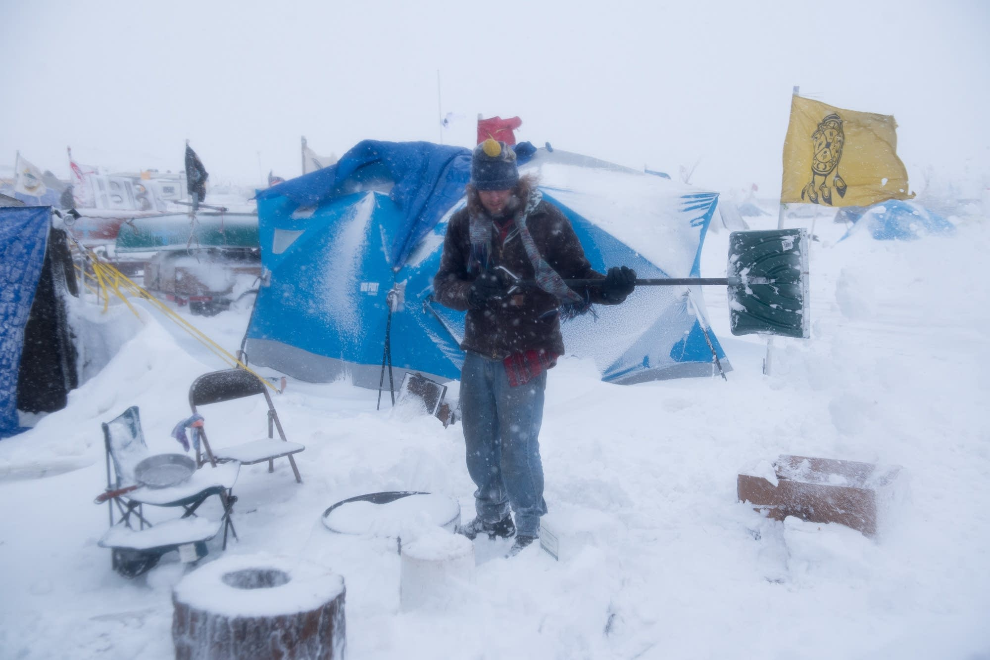 Clearing a campsite