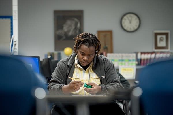 Xavier Simmons, 27, in class at the Hubbs Center.