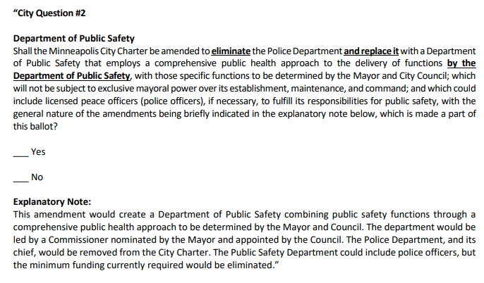 Paragraphs of suggested ballot language aimed to replace MPD