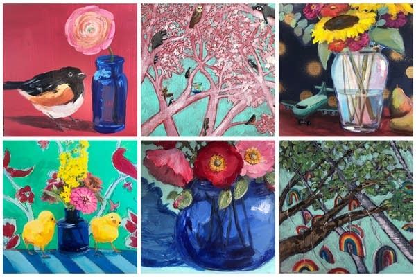 A collage of six paintings with birds, flowers and trees