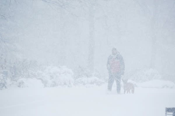 Jon Kirchhofer takes a stroll with his dog, Ginny, in Shadow Falls Park.