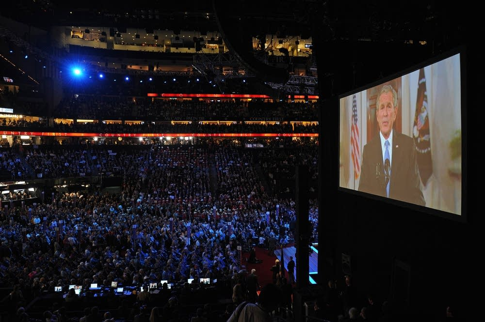 US President George Bush addresses the RNC
