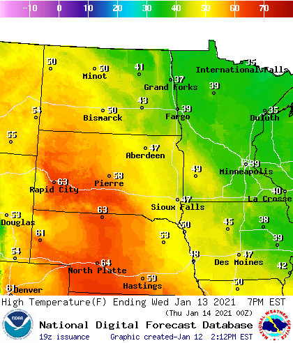 Forecast high temperatures Wednesday