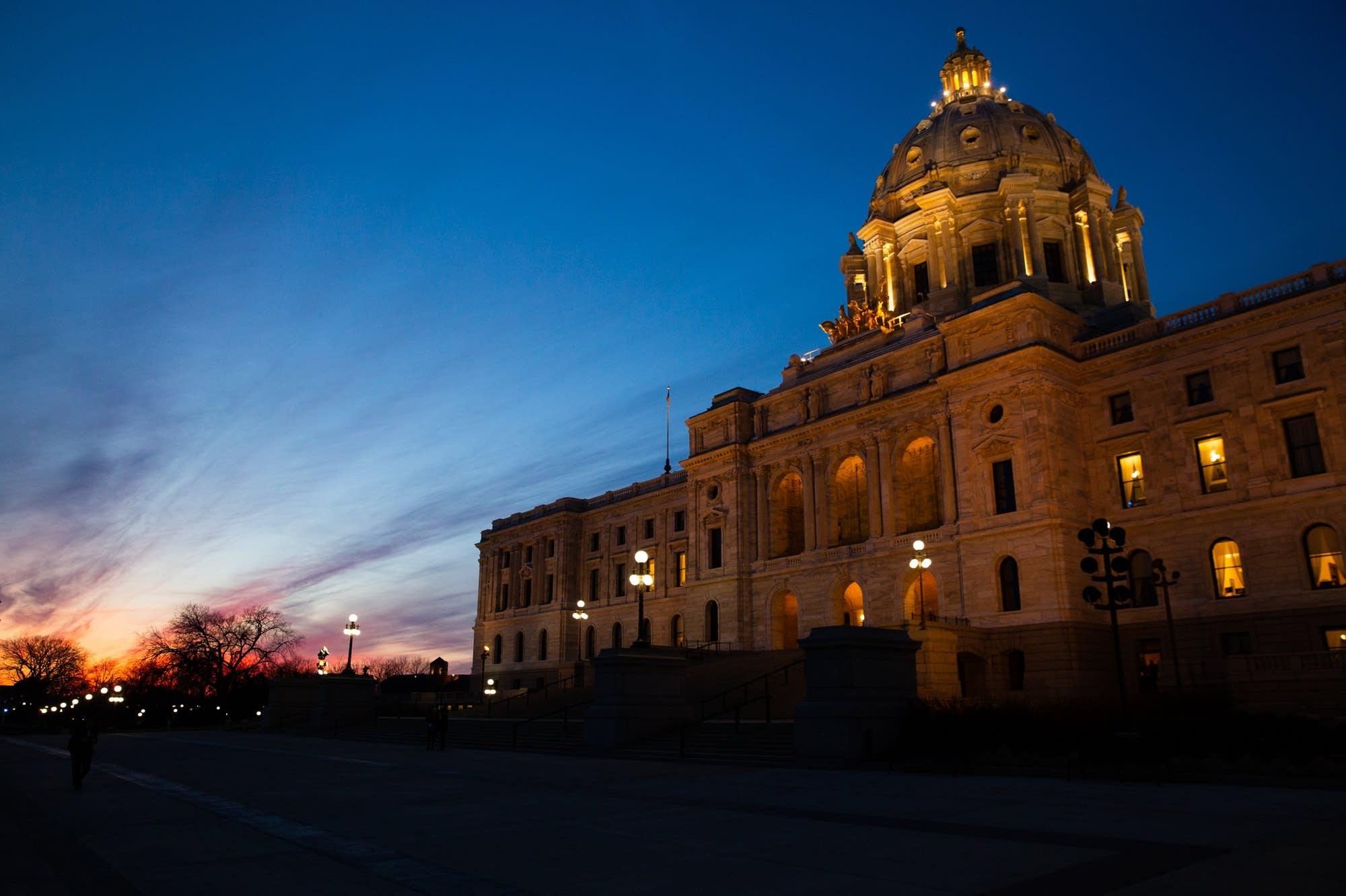 The sun sets on the Minnesota State Capitol.