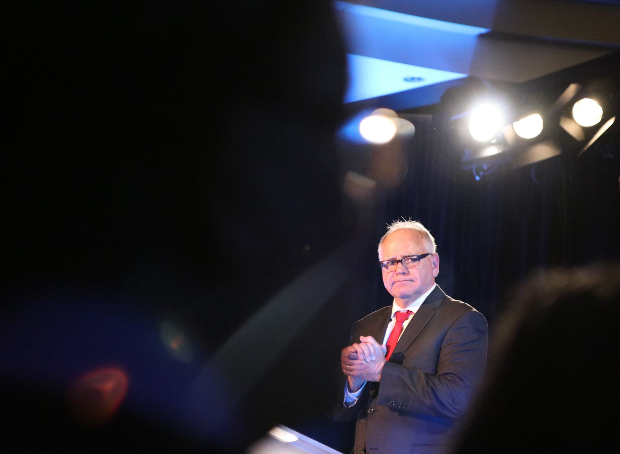 Tim Walz addresses the crowd in St. Paul.