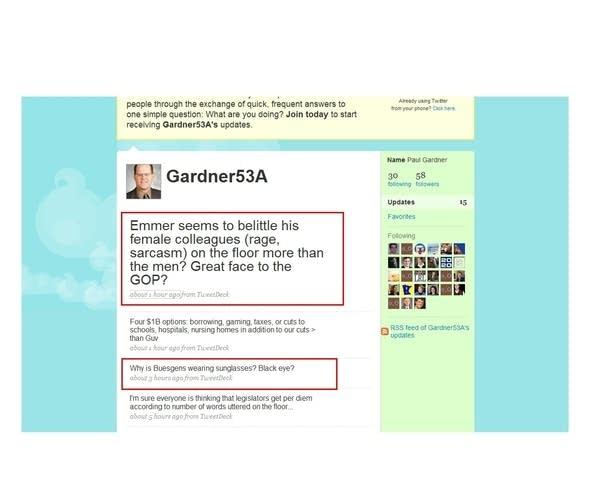 Gardner's Twitter page