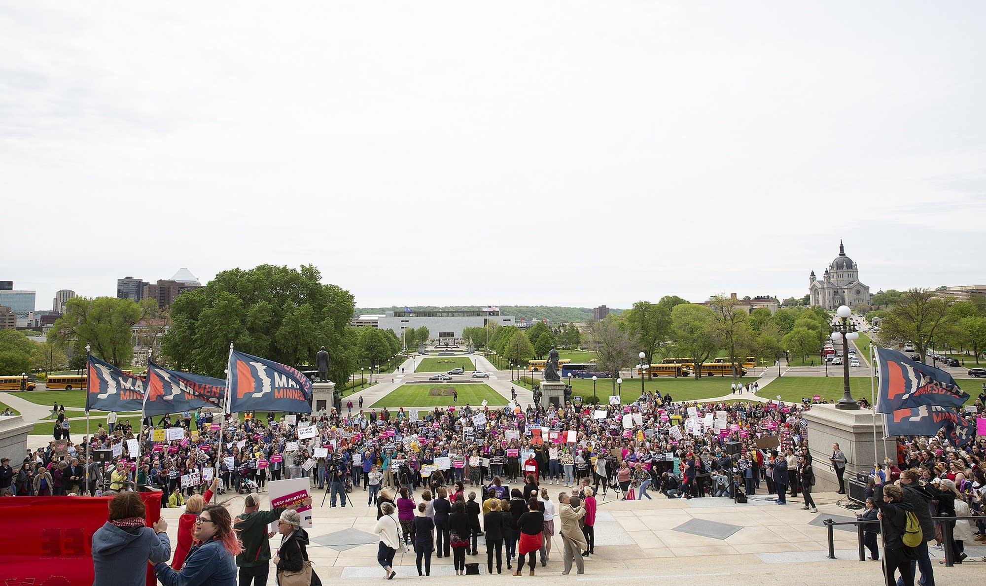 A crowd gathered for a protest against abortion bans at the state Capitol.