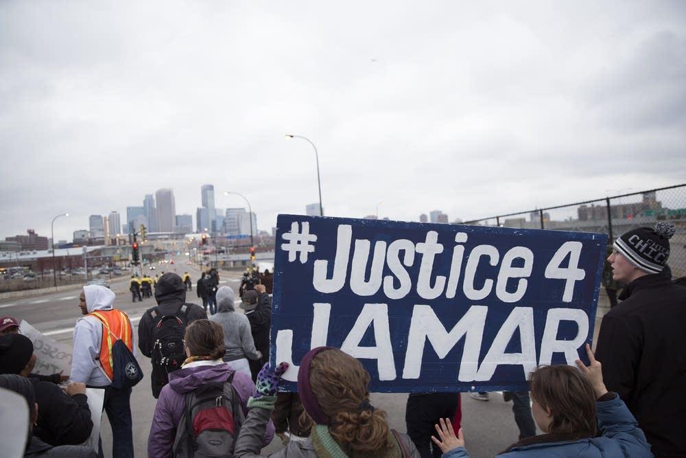 Marching toward downtown Minneapolis