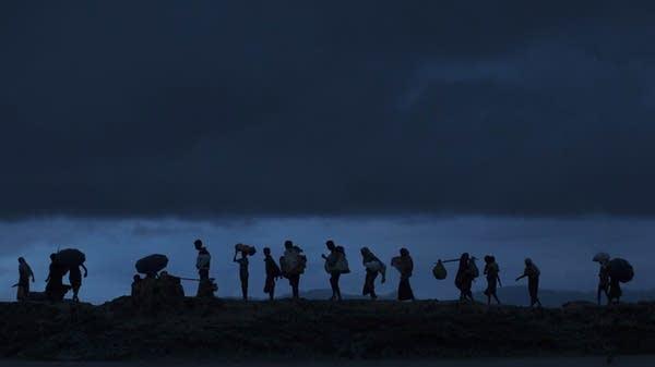 Rohingya refugees trek throughnBangladeshinpaddy fields at dusk
