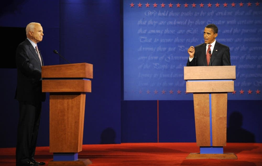Democrat Barack Obama debating McCain