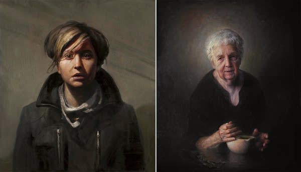 two portrait paintings, side by side