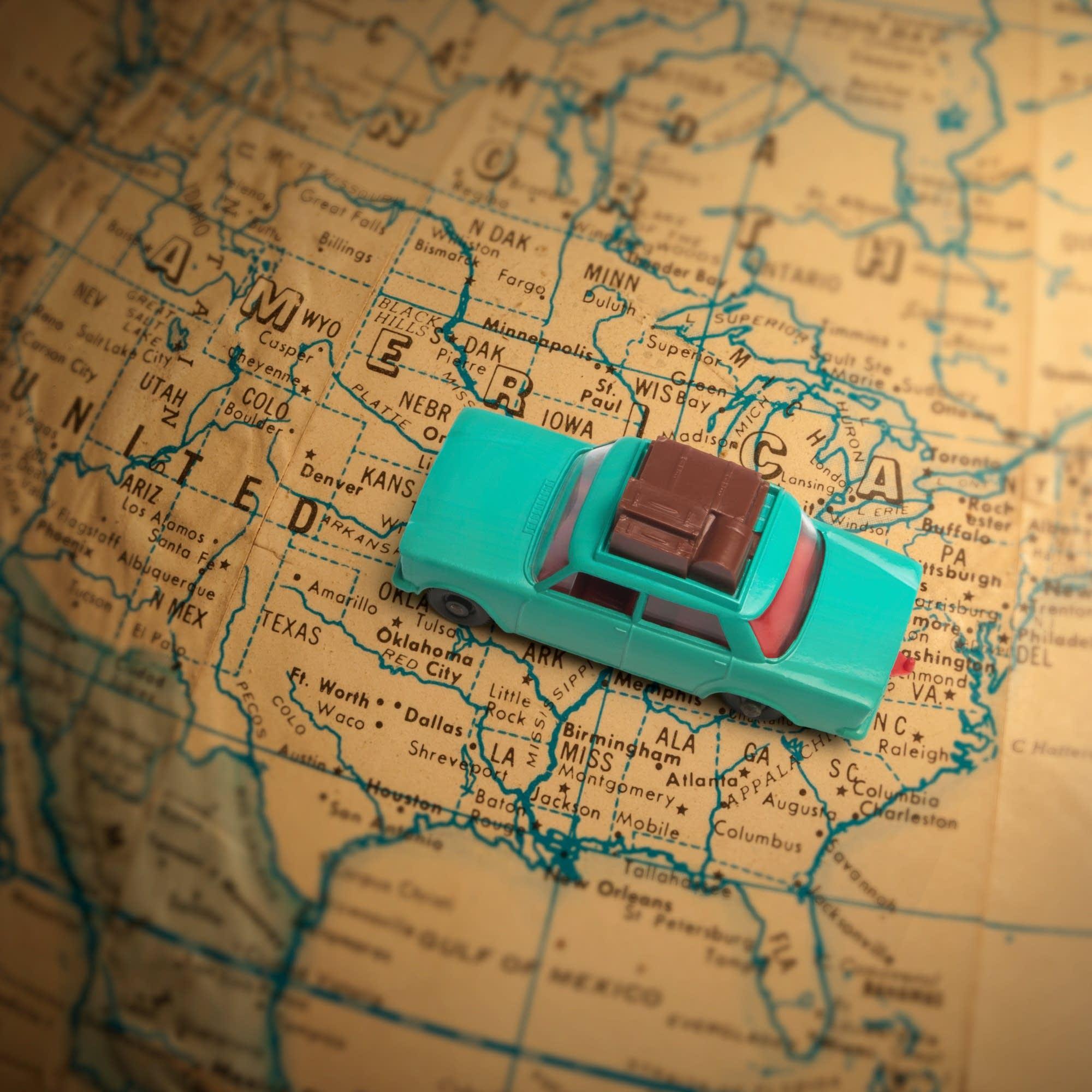Globetrotting toy car vacation