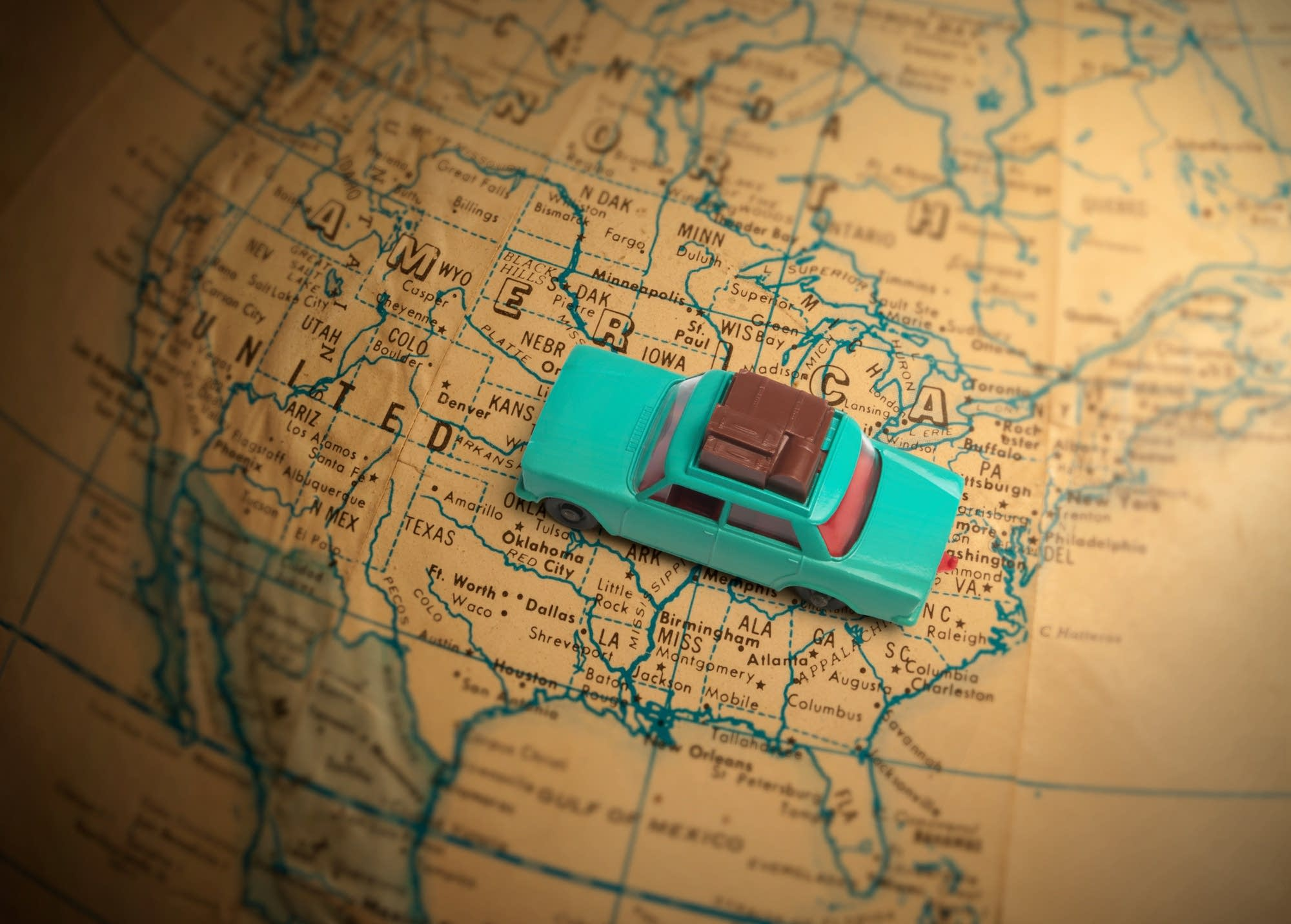 Globetrotting toy car vacation