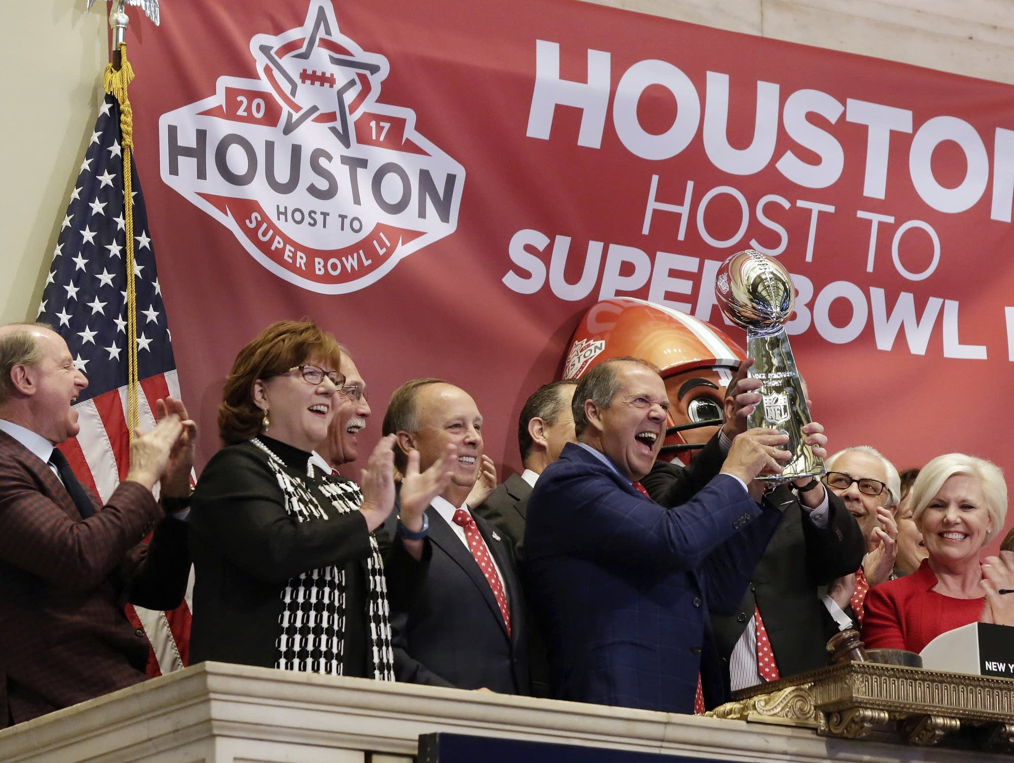 Celebrating Houston hosting the Super Bowl