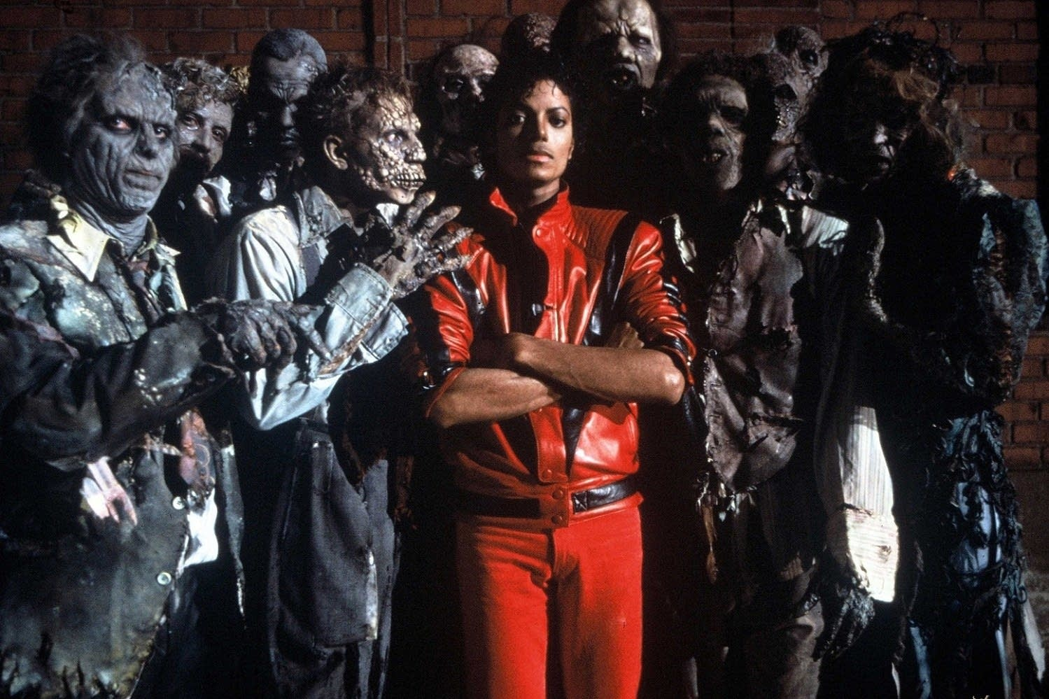 Michael Jackson and friends in a promotional image for 'Thriller.'