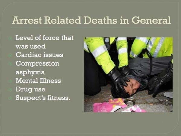 A presentation slide shows discussions on arrest related deaths.