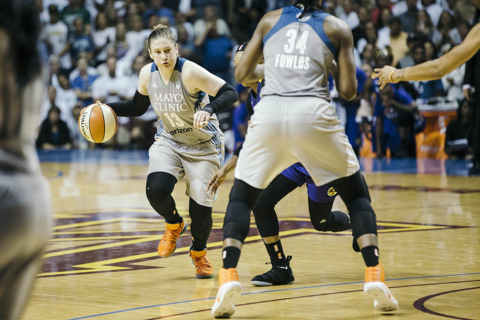 Lynx guard and Hutchinson native Lindsay Whalen dribbles the ball.