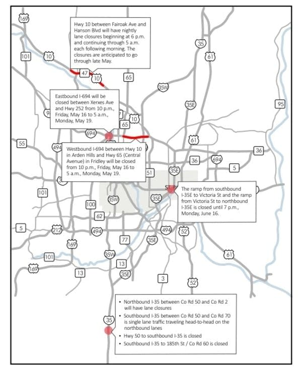 Road closings in Twin Cities