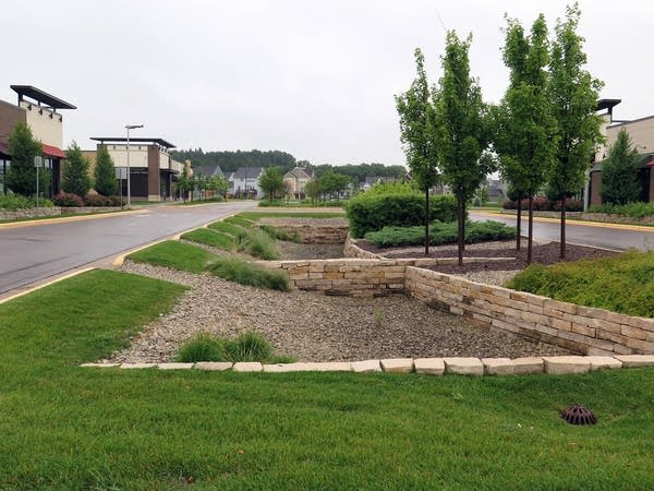 Landscaped median doubles as stormwater collector.