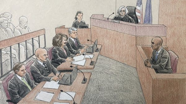 This sketch shows ex-cop Mohamed Noor's trial on Friday, April 26, 2019.