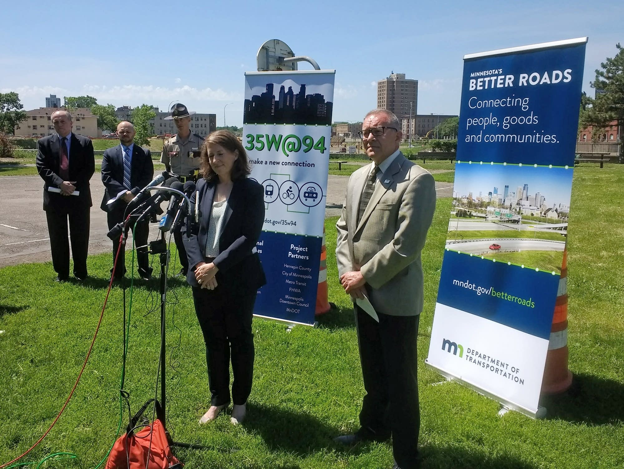 Robin Hutcheson and Scott McBride speak at a press conference Tuesday.