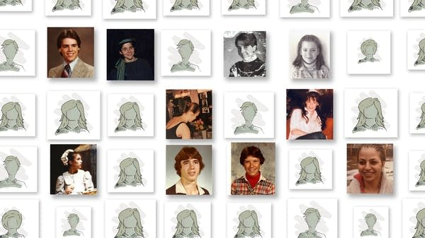 Pictures and drawings of children lined up as in a yearbook