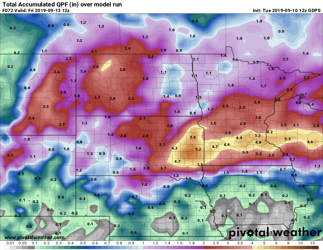 Canadian model rainfall output through Thursday