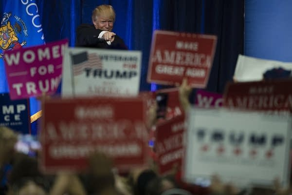 Donald Trump campaigns at UW-Eau Claire Tuesday.