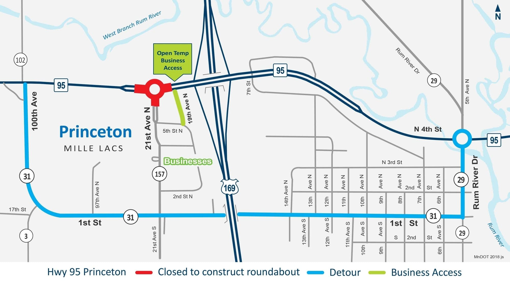 Highway 95 Princeton roundabout construction