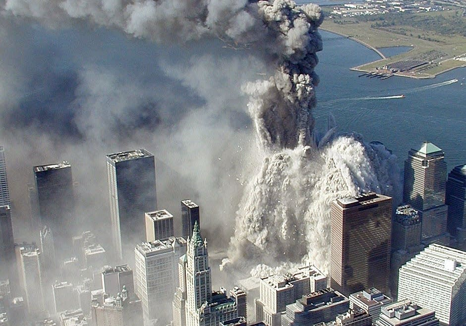 Aerial view of Sept. 11 attack