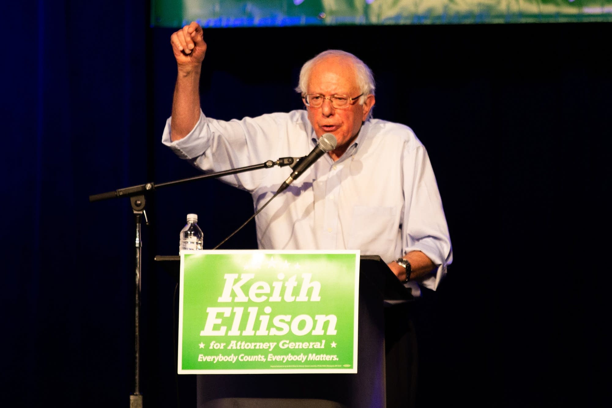Sen Bernie Sanders speaks in support of Rep. Keith Ellison.