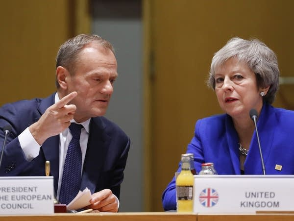 European Council President Donald Tusk, British Prime Minister Theresa May