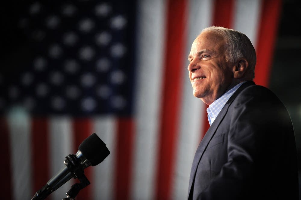 McCain speaks at a rally in New Hampshire