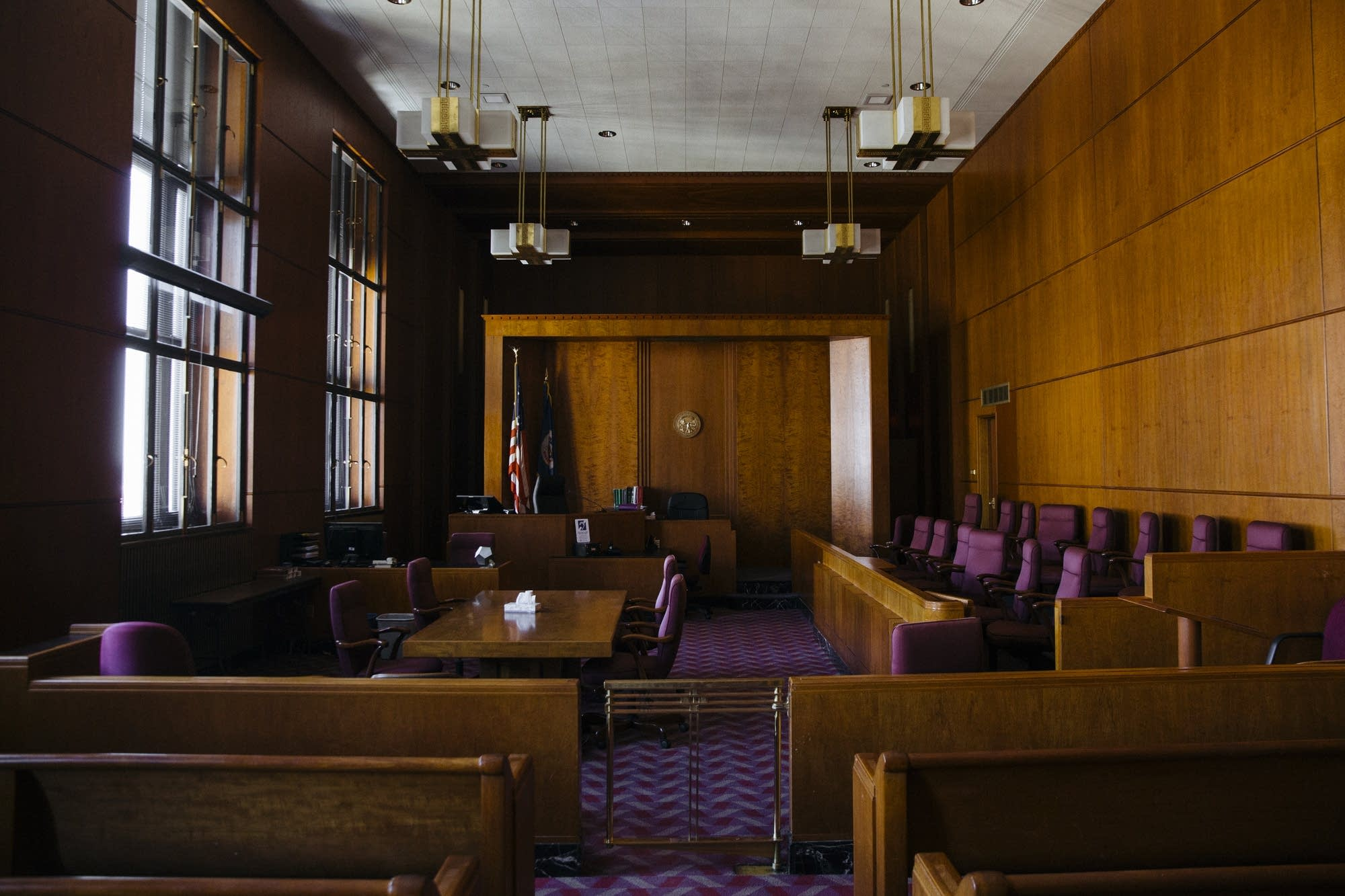 Courtroom 880 sits empty inside the Ramsey County Courthouse.